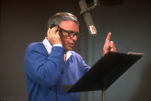 """Frank Sinatra at the Reprise recording session of """"L.A. Is My Lady"""" / A&R Studios, New York / 1984 © 1984 Ed Thrasher - Image 0337_1981"""