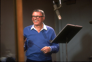 """Frank Sinatra at the Reprise recording session of """"L.A. Is My Lady"""" / A&R Studios, New York / 1984 © 1984 Ed Thrasher - Image 0337_1983"""