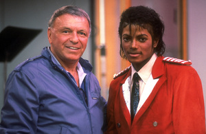 """Frank Sinatra and Michael Jackson at the Reprise recording session of """"L.A. Is My Lady""""  / 1984 © 1984 Ed Thrasher - Image 0337_1987"""
