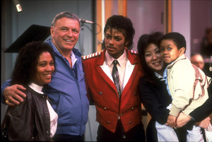 """Frank Sinatra with Michael Jackson and Emmanuel Lewis at the Reprise recording session of """"L.A. Is My Lady"""" / 1984 © 1984 Ed Thrasher - Image 0337_1988"""