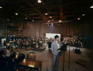 """Frank Sinatra, Nelson Riddle and 73 musicians on stage 7 of the Samuel Goldwyn Studios in Hollywood recording the album """"The Concert Sinatra""""  (this photo would make the 1963 record album's cover)1963© 1978 Ted Allan - Image 0337_1993"""