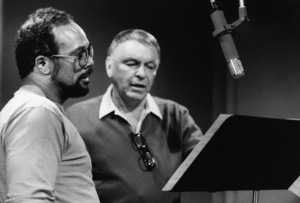 """Frank Sinatra with Quincy Jones at the Reprise recording session of """"L.A. Is My Lady"""" at A & R Studios in New York  1984 © 1984 Ed Thrasher - Image 0337_2026"""