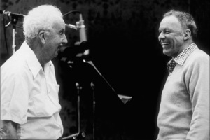 """Frank Sinatra with Gordon Jenkins at the Reprise recording session of """"Trilogy"""" / 1979 © 1979 Ed Thrasher - Image 0337_2043"""