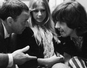 Frank Sinatra with George Harrison and Pattie Boyd at a Reprise recording session 1968 © 1978 Ed Thrasher - Image 0337_2057a
