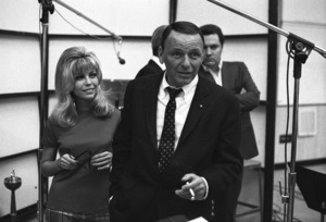 Frank Sinatra and daughter Nancy Sinatra at a Reprise recording session1967 © 1978 Ed Thrasher - Image 0337_2080