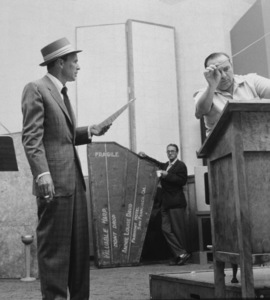 Frank Sinatra with conductor Felix Slatkin at a Capitol Records recording session, c. 1954 © 1978 Sid Avery - Image 0337_2125