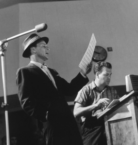 Frank Sinatra with Arranger Nelson Riddle at a Capitol Records recording session, c. 1954 © 1978 Sid Avery - Image 0337_2137