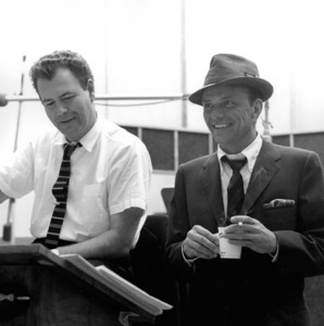 """Frank Sinatra and arranger Nelson Riddle at a Capitol Records recording session, c. 1959 for """"Come Dance with Me"""" © 1978 Sid Avery - Image 0337_2172"""