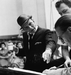 """Frank Sinatra, arranger Nelson Riddle and copyist Vern Yocum at a Capitol Records recording session in Los Angeles for the album """"Come Dance With Me""""1959© 1978 Sid Avery - Image 0337_2173"""
