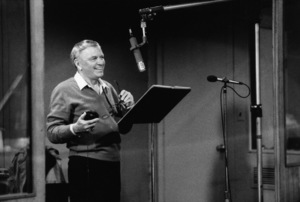 """Frank Sinatra with Quincy Jones at the Reprise recording session of """"L.A. Is My Lady"""" at A & R Studios in New York  1984 © 1984 Ed Thrasher - Image 0337_2766"""