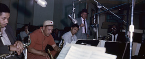 Frank Sinatra in the recording studio with Marshall Royal (wearing cap)1962© 1978 Ted Allan - Image 0337_2786