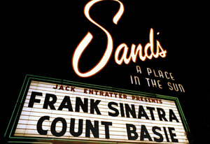 Frank Sinatra and Count Basie on the marquee of The Sands hotel in Las Vegas, Nevada 1964 © 1978 Ted Allan - Image 0337_2802