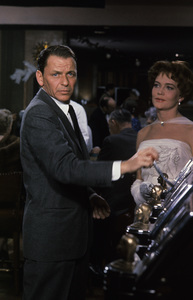 "Frank Sinatra and Patrice Wymore at the Sands Hotel in Las Vegas during the making of ""Ocean"