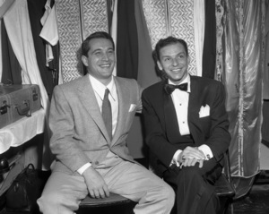 Frank Sinatra and Perry Como backstage at the Copacabana (nightclub)  circa 1943  © 1978 Barry Kramer