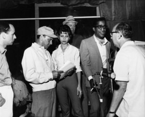 """Frank Sinatra with his daughter Nancy Sinatra, Jimmy Van Heusen, Sammy Davis Jr., Sammy Cahn, and Joey Bishop during rehearsals for """"The Frank Sinatra Timex Show: Welcome Home Elvis""""1960** A.H. - Image 0337_2878"""