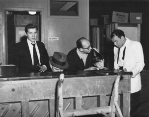 """Frank Sinatra with Bill Miller, Jimmy Van Heusen, Sammy Cahn, and Eddie Hodges during rehearsals for the film """"A Hole in the Head""""1959** A.H. - Image 0337_2882"""