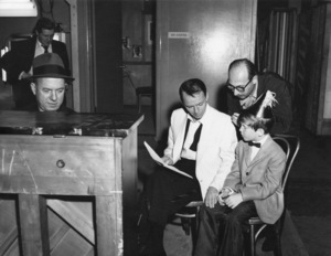 """Frank Sinatra with Bill Miller, Jimmy Van Heusen, Sammy Cahn, and Eddie Hodges during rehearsals for the film """"A Hole in the Head""""1959** A.H. - Image 0337_2887"""