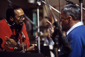 """Frank Sinatra and Quincy Jones in the studio during the recording session for his album """"L.A. Is My Lady"""" 1984 © 1984 Ed Thrasher - Image 0337_2892"""
