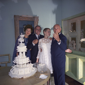 Mia Farrow on her wedding day to Frank Sinatra with Rosalind Russell and Frederick Brisson1966 © 1978 Ted Allan - Image 0337_2900