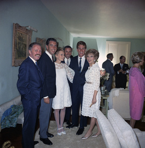 Mia Farrow on her wedding day to Frank Sinatra with Richard Attenborough, Leonard Gershe, Ryan O