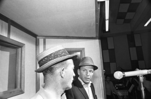Frank Sinatra at a Reprise recording session with Bing Crosby (Emil Richards in background)1964© 1978 Ed Thrasher - Image 0337_2910