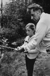 "Richard Burton with daughter Kate Burton during the filming of ""Who"
