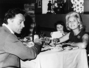 Sybil Burton with Richard and their daughter Kate at a restaurant in Rome1962 - Image 0406_0541