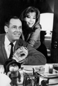 """Henry Fonda visited by his daughter, Jane Fonda, during his Broadway production of, """"Inherit the Wind""""12-26-1959 © 1978 George E. Joseph - Image 0518_0826"""