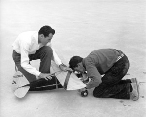Henry Fonda, James Stewartwith a model airplane, 1939Copyright John Swope Trust / MPTV - Image 0518_0837