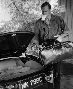 Charlton Heston at home with his 1967 Jaguar E-Type 4.2 OTS circa 1967 © 1978 David Sutton - Image 0527_0409