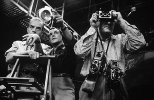"Director Vincente Minnelli, Gene Kelly and photographer Eric Carpenter on the set of ""Brigadoon""1954 MGM © 1978 Bob Willoughby  - Image 0538_0430"