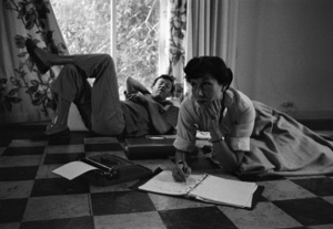 """Adolph Green and Betty Comden at their Los Angeles home working on the new score for """"Peter Pan""""1954© 1978 Bob Willoughby - Image 0549_0090"""