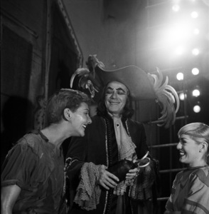"""Mary Martin, Cyril Ritchard and Sondra Lee backstage during a production of """"Peter Pan""""1954© 1978 Bob Willoughby - Image 0549_0098"""