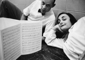 Moose Charlap and Carolyn Leigh in the Hollywood Musicians Union Headquarters1954© 1978 Bob Willoughby - Image 0549_0106
