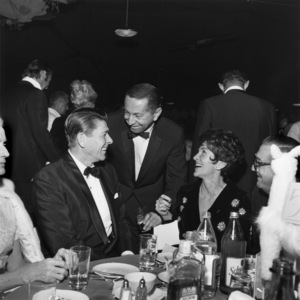 """Ronald Reagan and wife Nancy Reagan at """"Dr. Dolittle"""" premiere party1968© 1978 Larry Kastendiek - Image 0551_0002"""