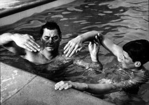 Johnny Weissmuller with Johnny Jr., in L.A., 1955. Photo: Ernest Reshovsky © 1978 Marc Reshovsky - Image 0579_0109