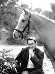 """""""Mister Ed"""" Alan Young & Mr. Ed in L.A. 1963 cbs Photo by Gabi Rona - Image 0582_0116"""