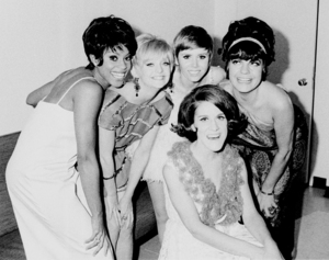 """Teresa Graves, Goldie Hawn, Judy Crane, Ruth Buzzi and Jo Anne Worley during the making of """"Rowan & Martin"""