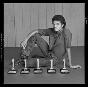 """Michael Jackson in Los Angeles with his five Billboard Magazine awards for the album """"Off the Wall"""" (#1 Pop Singles Artist, #1 Pop Album, #1 Soul Artist, #1 Soul Album, #1 Soul Singles Artist)1980 © 2009 Bobby Holland - Image 0628_0021"""