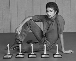"""Michael Jackson in Los Angeles with his five Billboard Magazine awards for the album """"Off the Wall"""" (#1 Pop Singles Artist, #1 Pop Album, #1 Soul Artist, #1 Soul Album, #1 Soul Singles Artist)1980 © 2009 Bobby Holland - Image 0628_0021a"""