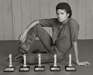 """Michael Jackson in Los Angeles with his five Billboard Magazine awards for the album """"Off the Wall"""" (#1 Pop Singles Artist, #1 Pop Album, #1 Soul Artist, #1 Soul Album, #1 Soul Singles Artist)1980 © 2009 Bobby Holland - Image 0628_0021c"""