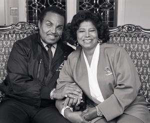 "Joseph ""Joe"" Jackson and Katherine Jackson at their home in Encino, CA1989 © 2009 Bobby Holland - Image 0628_0057"