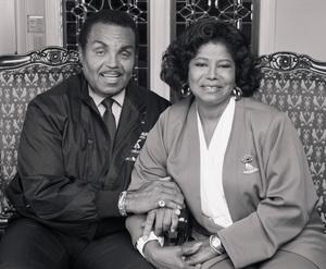 "Joseph ""Joe"" Jackson and Katherine Jackson at their home in Encino, CA1989 © 2009 Bobby Holland - Image 0628_0058"