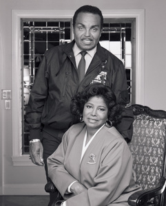 "Joseph ""Joe"" Jackson and Katherine Jackson at their home in Encino, CA1989 © 2009 Bobby Holland - Image 0628_0059"