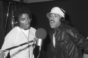 Michael Jackson and Lionel Richie composing and recording at Lion Share Recording Studios in Los Angeles1981 © 2009 Bobby Holland - Image 0628_0078