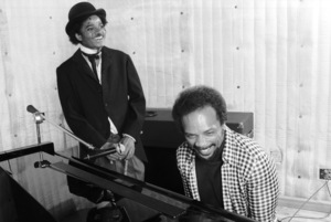 Michael Jackson and Quincy Jones composing songs in a Los Angeles recording studio 1979 © 2009 Bobby Holland  - Image 0628_0106