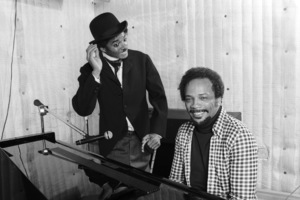 Michael Jackson and Quincy Jones composing songs in a Los Angeles recording studio 1979 © 2009 Bobby Holland - Image 0628_0107