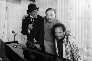Michael Jackson, Quincy Jones and engineer Bruce Swedien composing songs in a Los Angeles recording studio 1979 © 2009 Bobby Holland - Image 0628_0111