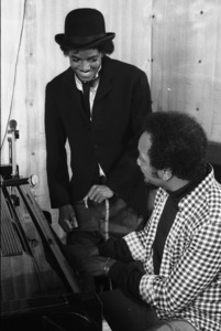Michael Jackson and Quincy Jones composing songs in a Los Angeles recording studio 1979 © 2009 Bobby Holland - Image 0628_0113