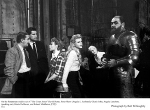 """Angela Lansbury, David Burns, Peter Shaw, Glynis John, Gloria DeHaven and Robert Middleton on theset of """"The Court Jester"""" 1955 Paramount © 1978 Bob Willoughby - Image 0633_0033"""